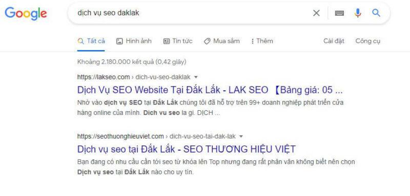 Ket qua dich vu seo web daklak